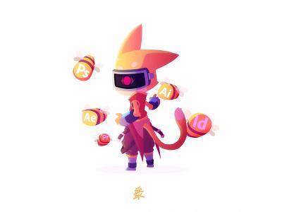 Saiyan Fox saiyan character fox design vector flat illustration