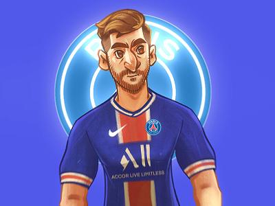 Leo Messi New Journey portrait illustration football champion transfer psg barcelona king goat leo messi