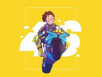 Valentino Rossi legend race motogp character design vector illustration 46 rossi valentino