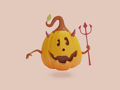 Cutest Pumpkin 3d character illustration candy spooky scary halloween pumpkin