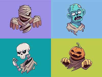 Halloween Costume cartoon vector costume character illustration monster spooky skull zombie pumpkin mummy scary halloween