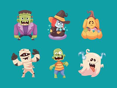Halloween Character cartoon vector costume scary spooky pumpkin mummy zombie ghost witch skull character halloween