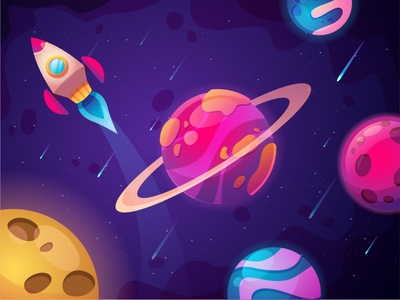 Colorfull Space vector cartoon illustration galaxy earth planet rocket colorfull space