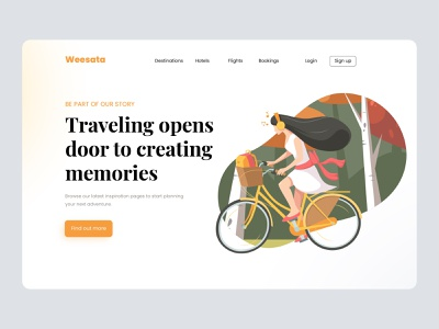 Travel Agency Landing Page vector cartoon background bicycle world enjoy girl illustration agency travel website landing page