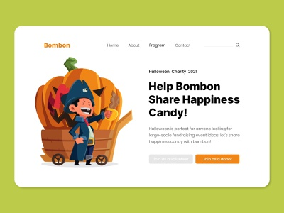 Halloween - Bombon Share Candy charity design vector flat pumpkin spooky character illustration ui landing page halloween