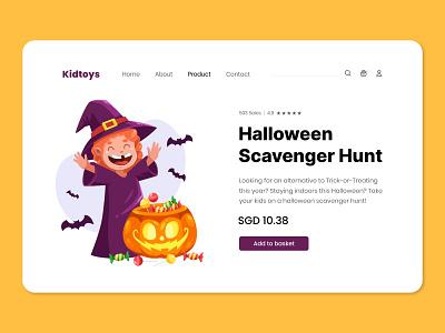 Halloween - Scavenger Hunt ui flat vector cartoon witch pumpkin character illustration landing page hunt scavenger halloween
