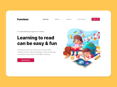 Funclass - Online Learning Platform for Kids kids reading class learning cartoon character vector simple flat illustration ui