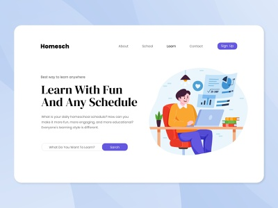Homesch - Online Learning Platform cartoon knowledge school learning landing page vector flat illustration ui