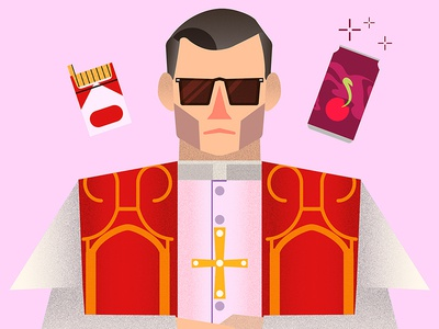 The Young Pope jude law vector illustration the young pope vector illustration glasses cola cigarettes christianity vatican series cinema