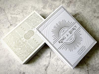 King & Legacy Playing Cards Gold Edition design branding illustration typography vintage packaging modern playingcard packagingdesign monoline elegant