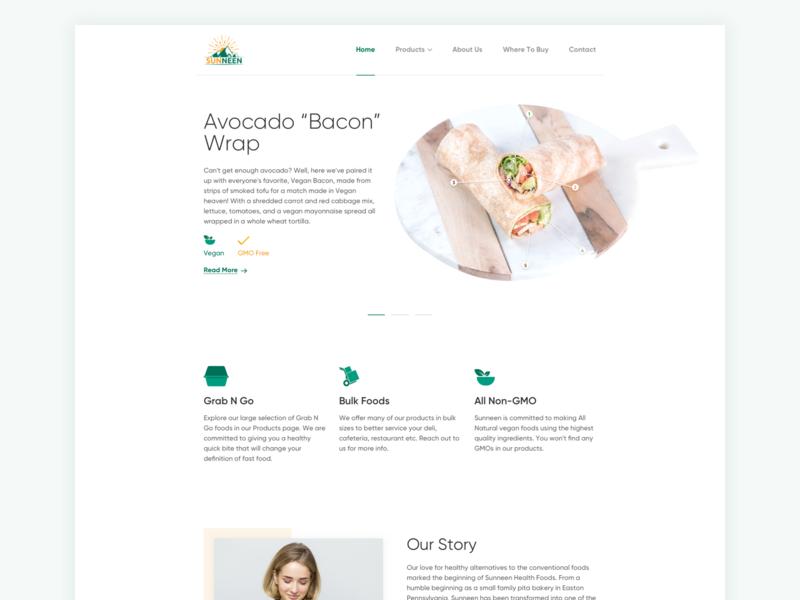 Clean food company website design. food landing ux design ui design new ux ui design
