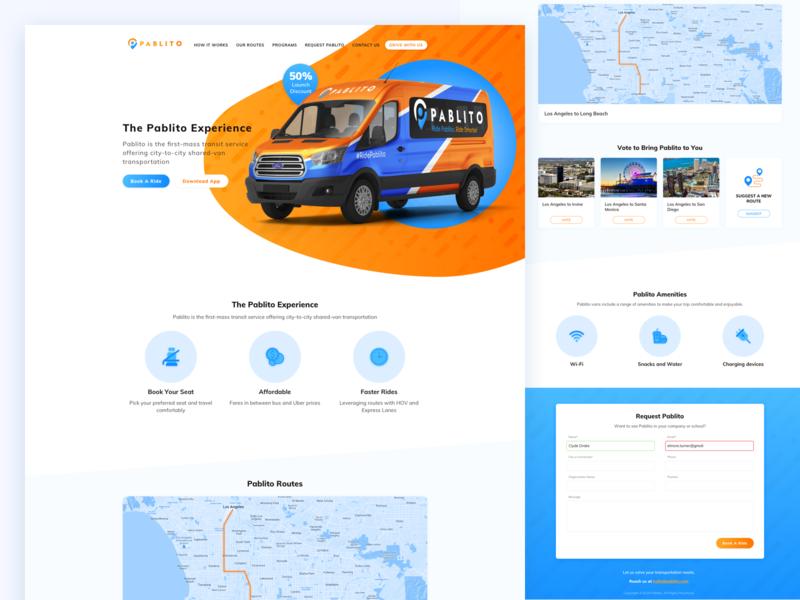 Car Sharing Landing Page landing page blue orange icons uber sharing car ux ui web landing sketch