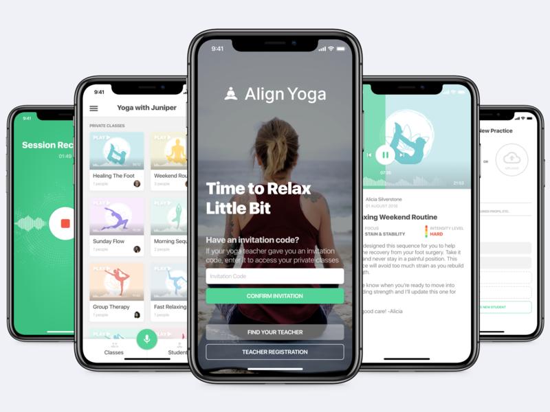 Yoga App Design log in login sign up sign record class student app description upload intensity detail descrition yoga ux ui design sketch
