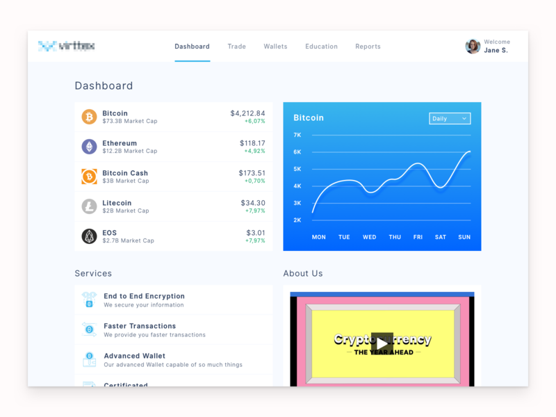 Cryptocurrency Dashboard menu user wallet trade chart about us services web design web new ux ui bitcoin dashboard crypto sketch
