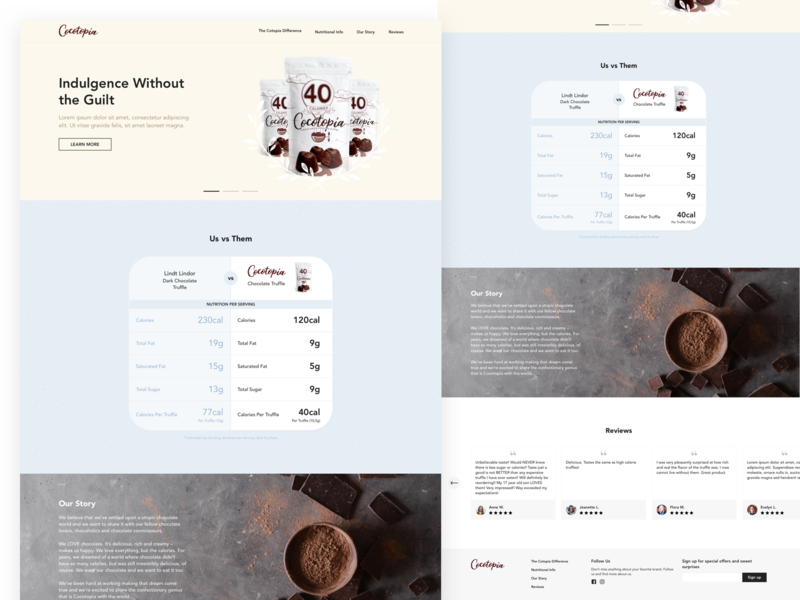 Landing Page for Chocolate Company web design web footer story review compare versus menu pastel chocolate home page homepage home landing page landing ux ui sketch
