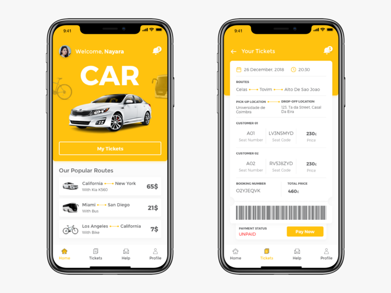 Car Sharing App yellow design pay notification menu new profile routes ticket app design uiux ux ui car sharing car app sketch