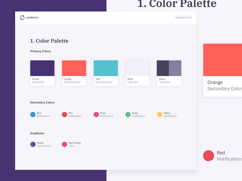 Parabol App Color Palette app software meeting library swatches scheme palette color pattern guide styleguide