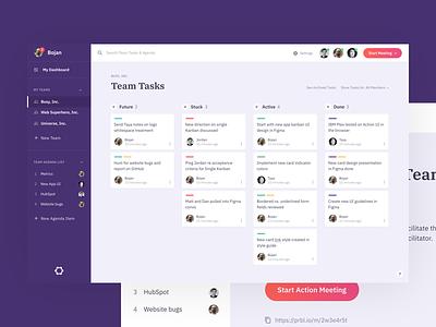 Parabol App Team View team teaming software ui meeting cards kanban parabol