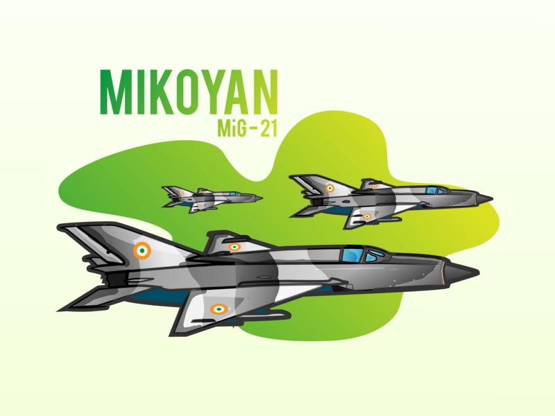 Mikoyan Mig - 21 jet airplane india indian air force art designer artist minimal clean illustrations design art 2019 vector illustrator illustration graphicdesign design