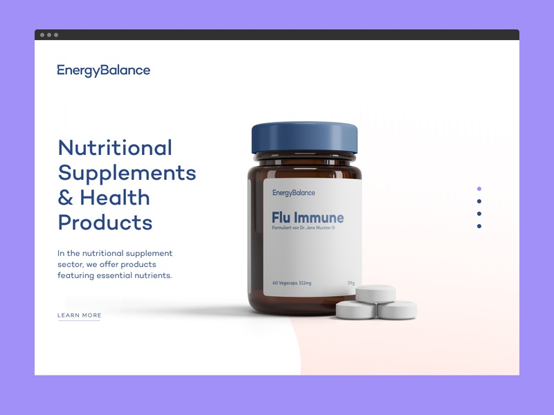 EnergyBalance® Landing Page ui nutrition packaging supplements health landingpage branding food design