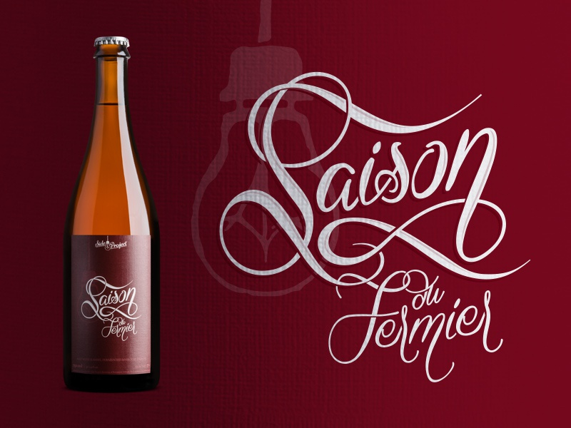 Saison du Fermier - Pinot Noir Puncheons bottle wine typography label craft beer lettering beer