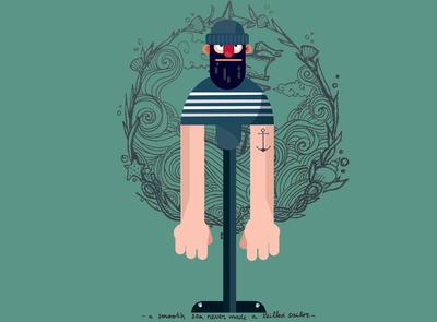 flat illustration sailor man