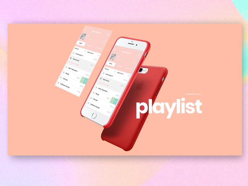 U-Niq Playlist App banner dashboard infographic pink pantone iphone interface playlist pastel concept design mobile app