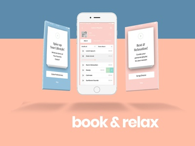 Book & Relax concept mobile screen onboarding user experience interface ui ux design