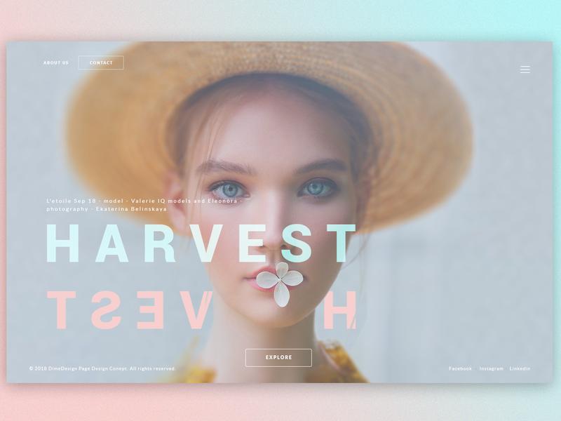 Harvest - Splash Page Concept photoshop graphic design interace web design ux ui banner screen splash