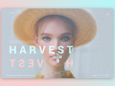 Harvest - Splash Page Concept photoshop graphic design interace web design ux ui banner screen splash