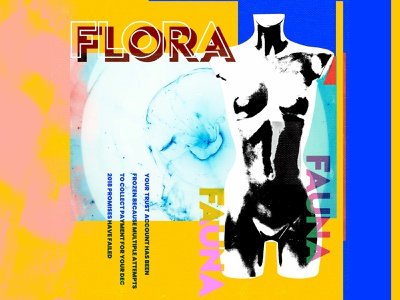 Flora & Fauna - Typographic Poster Design streetwear texture 90s yellow collage nashville digital art concept illustration typography design