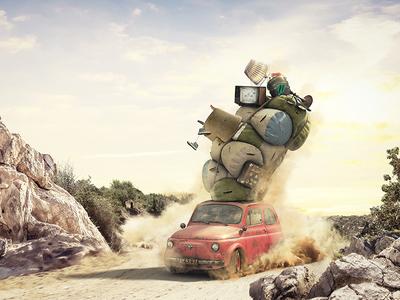 Getting Away photo-manipulation cars retouch 3d cgi postproduction manipulation ads