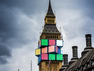 Rubik's Cube manipulation cgi rubiks cube games cloudy london bigben