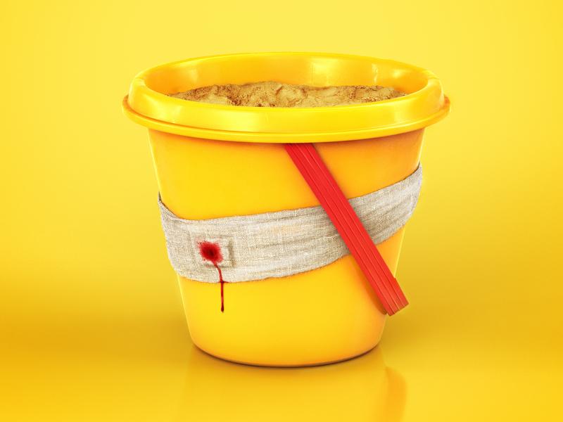 Bucket hurt bucket yellow summer cgi retouch insurance travel