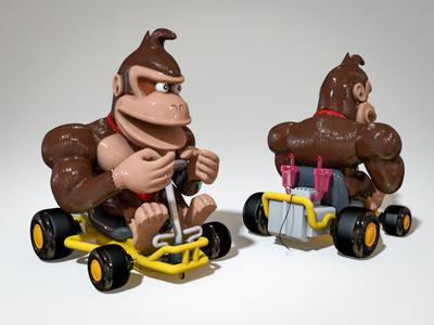 Yellow Mario Kart with DK