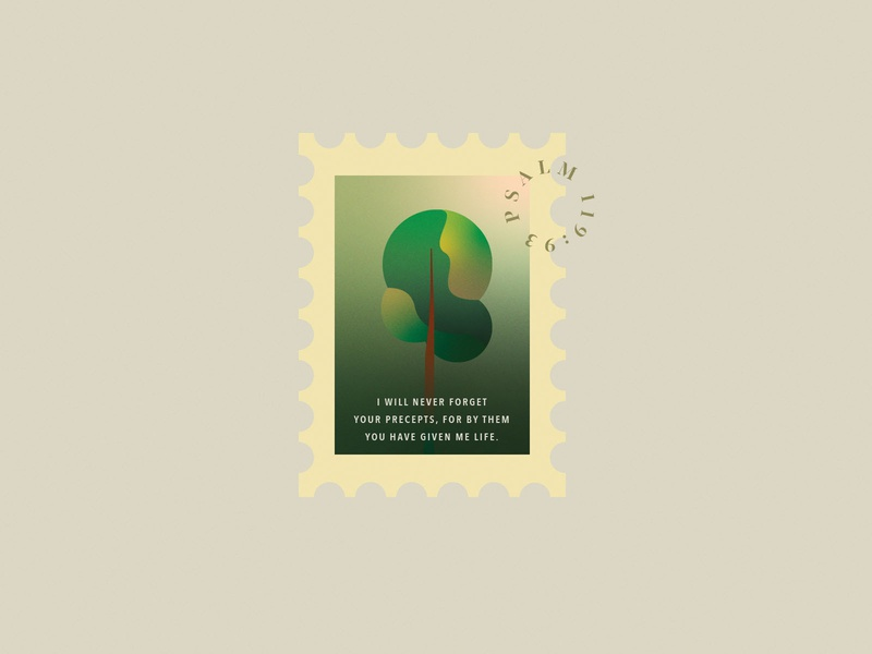 Psalm 119:93 graphic design stamp tree design minimalist