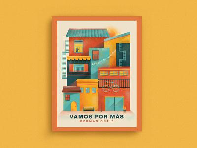 Vamos Por Mas branding colorful buildings series cover mexico illustration