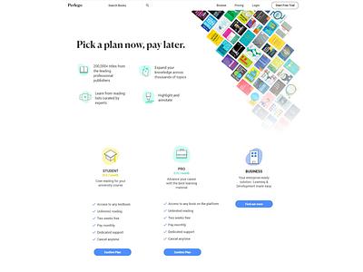 Pricing Page - Perlego design website ui subscription pricing price plans illustration