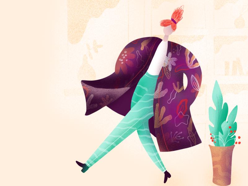 Illustration of a Girl in a Big Coat girl illustration girl character girl boss graphic art illustration digital colourful colour palette fun fun illustration illustration design illustration art graphic artist illustration graphic design graphic  design