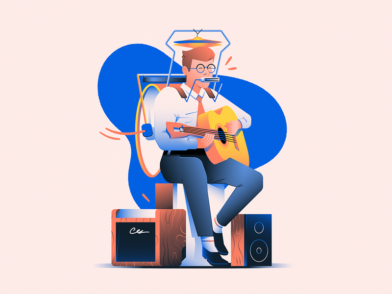 One Man Band man harmonica drums band music guitar illustration
