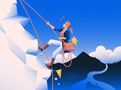 Mountain Climb office woman nature mountain illustration