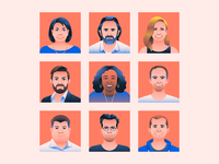 Degreed Portraits faces man woman office people illustration portrait
