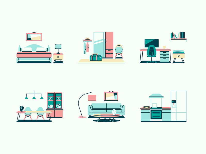 Tiny Illustrations #2 livingroom garage bedroom kitchen tools home house rooms room icons illustration