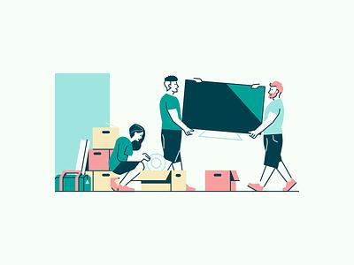Tiny Illustrations #3 storage boxes tv moving packing van car illustration