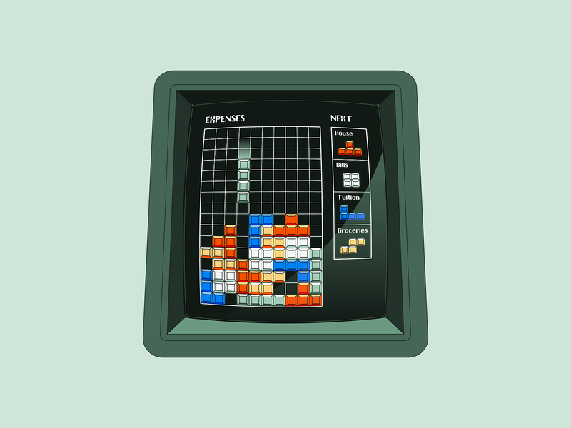 Robinhood #2 map phone banking money tetris arcade eggs illustration
