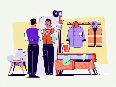 Temper #1 branding illustration bedroom waiter clothing wardrobe man work freelance