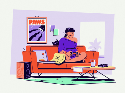 Temper #2 cat couch room freelancer living games gaming girl illustration