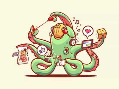 Habits octopus squid like centrefold ds gameboy hotdog ketchup coffee phone beer helmet