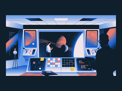 Control Room branding illustration organisation scifi nasa galaxy space