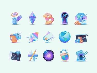Circle - Icons stocks banking finance crypto icons branding illustration